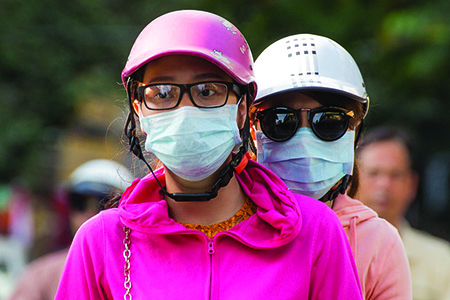 Beijing residents wearing masks