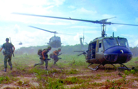 American troops using helicopters during the Vietnam War