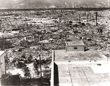 The aftermath of the explosion in Hiroshima
