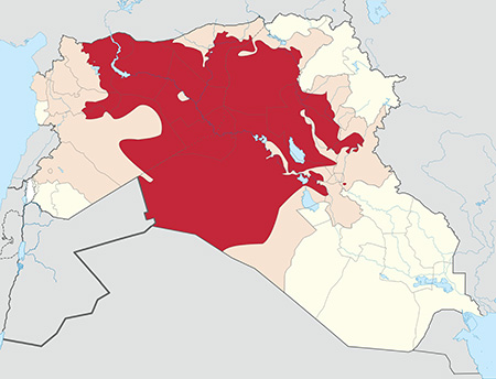 Map of territory controlled by ISIS