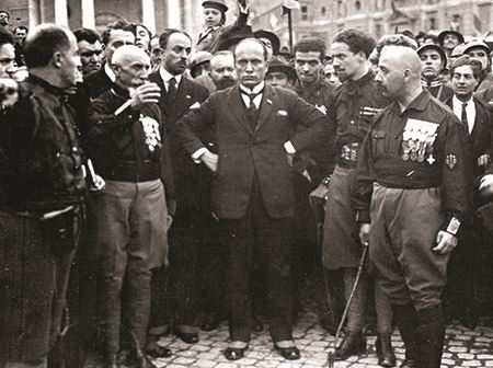 Mussolini and fellow Blackshirt leaders at March on Rome