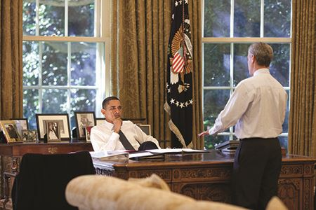 President Barack Obama and Rahm Emanuel in the Oval Office