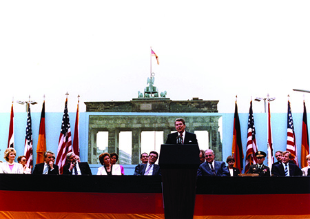 President Reagan delivering speech at the Brandenburg Gate, Berlin