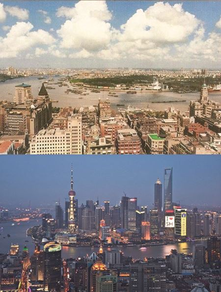 Shanghai - early 1990s and in 2010