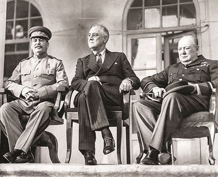 Stalin, Roosevelt, and Churchill at the Tehran Conference in 1943