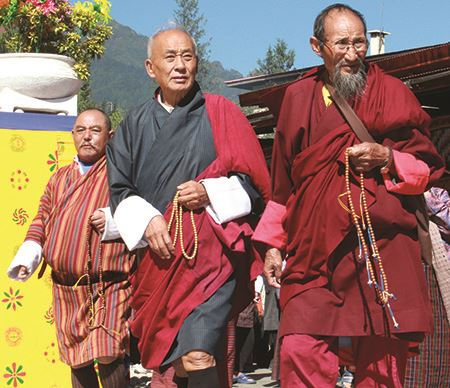 Tibetan Buddhists going to prayer