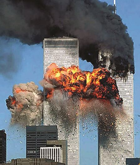 Second hijacked plane strikes the World Trade Center