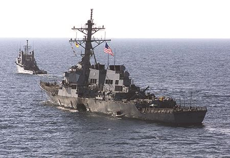 Damage to the hull of the USS Cole - 2000